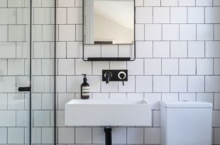 Bathroom, black and white bathroom, industrial luxe, industrial