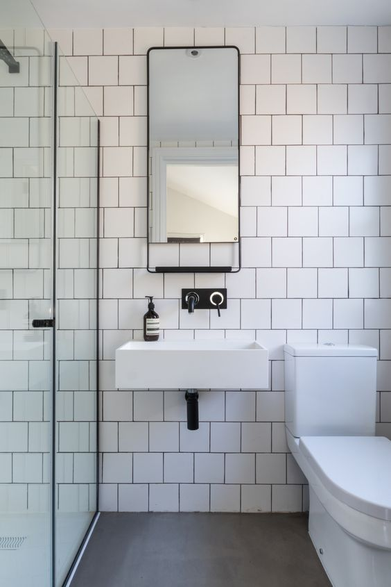 White Bathrooms With Black Taps