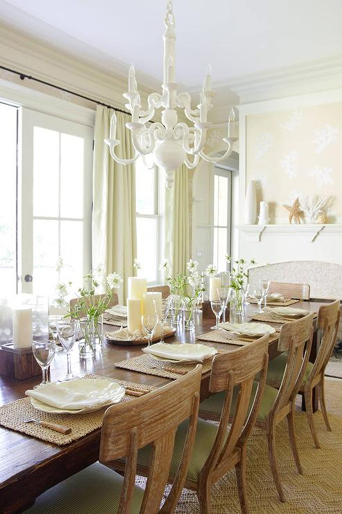 Beige and Green Dining Room with Fireplace - Cottage - Dining Room