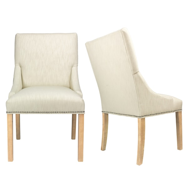 Shop Marie Off-White Upholstered Dining Chairs with Wood Legs (Set