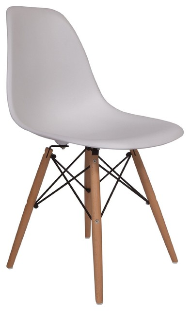 Molded Plastic Side Chair Wood Leg Base White Shell By Lemoderno