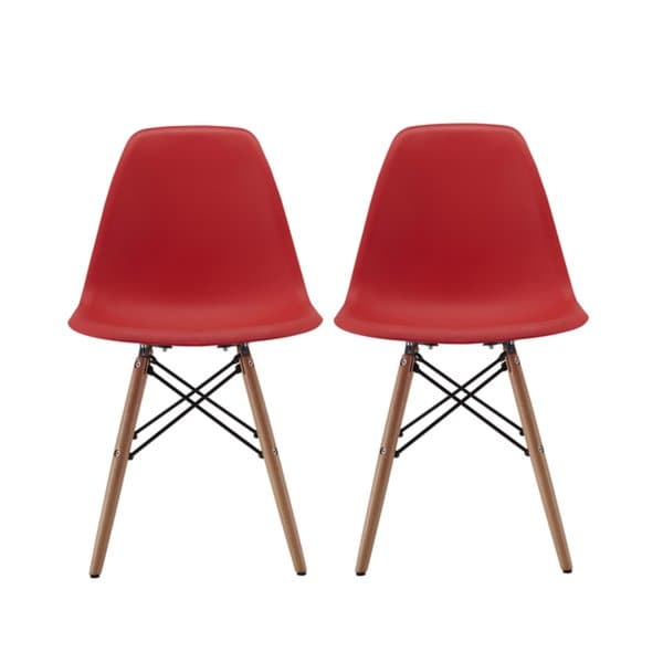 Shop Modern Chair Natural Wood Legs in Color White, Black and Red