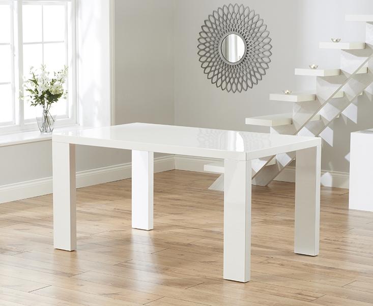 Buy Mark Harris Metz White High Gloss Dining Table 120cm Online