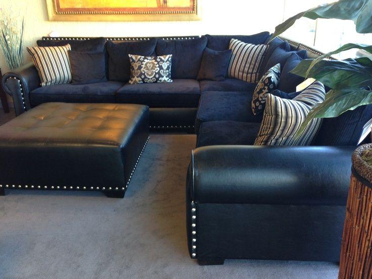 Navy Blue Leather Sectional Sofa | Home Furniture Design u2026 | I've
