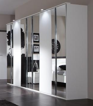 Hugos Extra Large White 6 Door Wardrobe with Mirrored Doors