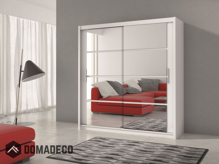 Derby 203 - White wardrobe with mirror