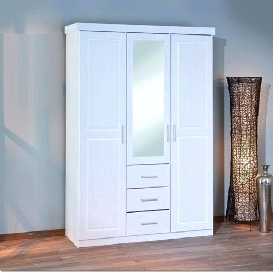 Wardrobes With Mirrors White Pine Finish Wardrobe Mirror Door Click
