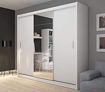 FADO extra large white 235 cm mirrored 3 door wardrobe closet with