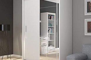 FADO white mirrored 2 door wardrobe closet with sliding doors mirror