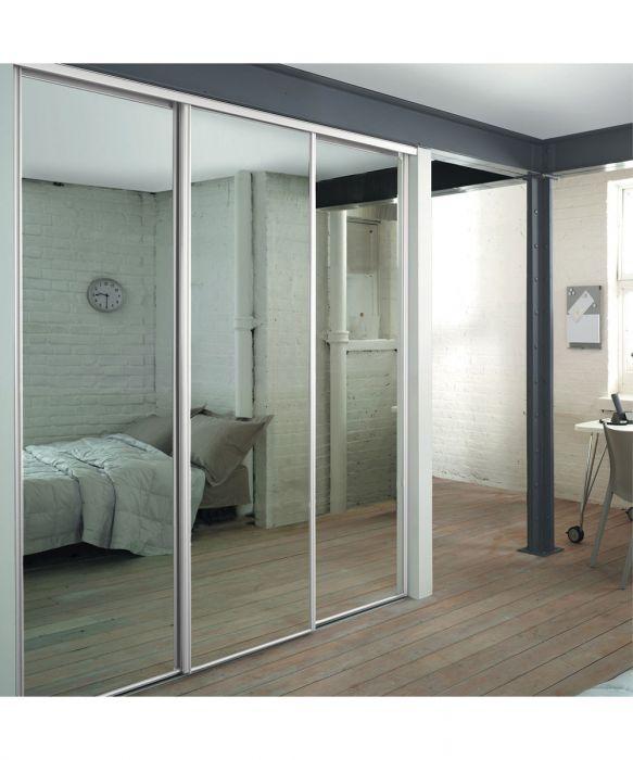 White Frame Mirror Sliding Wardrobe Doors with Track