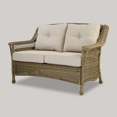 Cambridge All Weather Wicker Loveseat With Cushions - Threshold