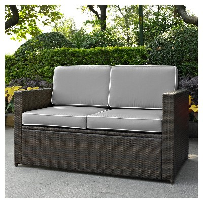 Palm Harbor Outdoor Wicker Loveseat In Brown With Gray Cushions