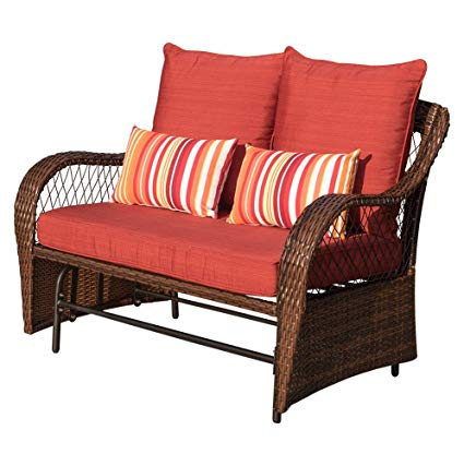 Amazon.com : Sundale Outdoor 2 Person Wicker Loveseat Glider Bench
