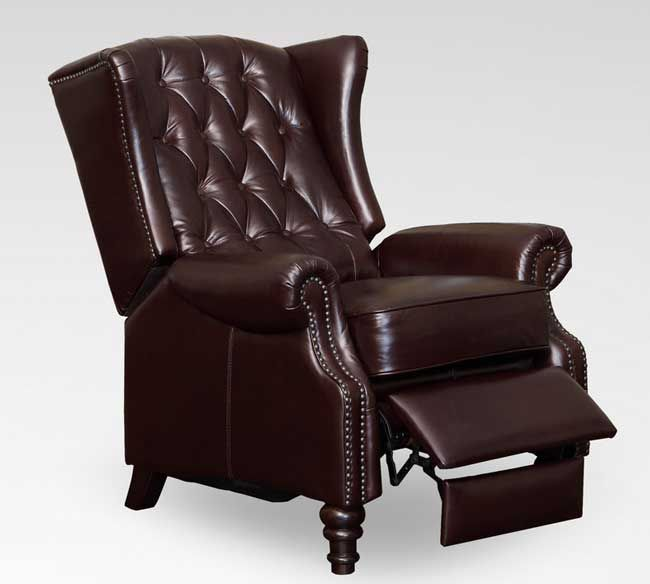 Lazzaro C9016-15 Tufted Wing Back Recliner in Vintage Cranberry