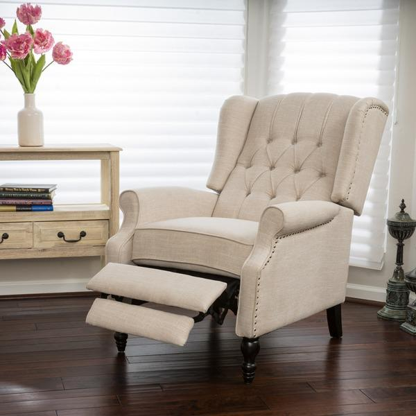 Christopher Knight Home Walter Light Beige Fabric Recliner Club Chair