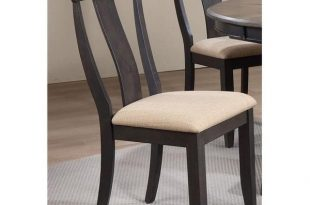Shop Panel Back Dining Chair Upholstered seat & Black Stone, Set of