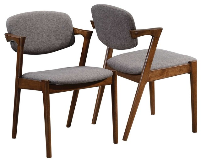 Accent Walnut Wood Dining Side Chairs Fabric Padded Back Support