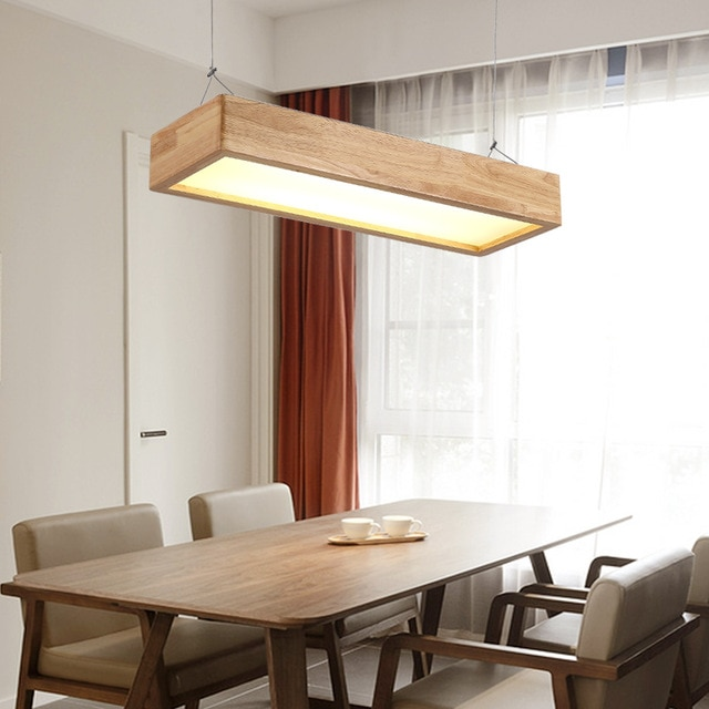 Japanese chandelier solid wood lamp office led living room lamp