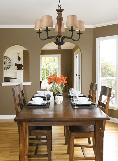 Early American Metal and Wood Chandelier - Traditional - Dining Room