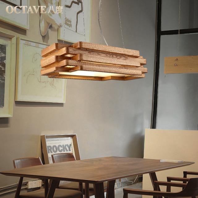 dining room bedroom hanging lamp lighting rectangular solid wood