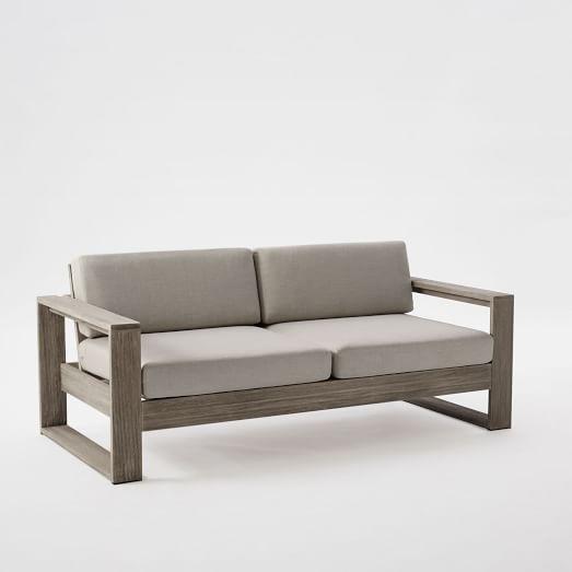 Portside Gray Finish Two Cushion Wooden Frame Sofa