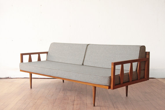 Wood Frame Mid Century Sofa Blue Grey Cushions 18x24 Wood Frame