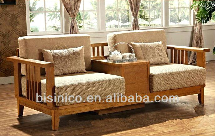 Wood Frame Couch Living Room Vanity Reclaimed With Leather Cushions