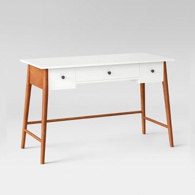 Amherst Mid Century Modern Three Drawer Writing Desk White/Brown