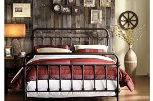 Amazon.com: Wrought Iron Bed Frame Dark Bronze Metal Queen Size Free