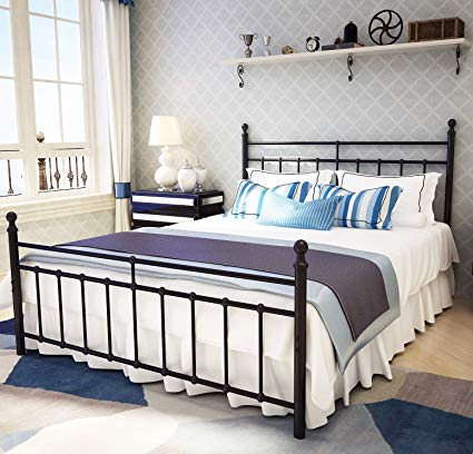 Amazon.com: Metal Bed Frame Queen Size with Vintage Headboard and